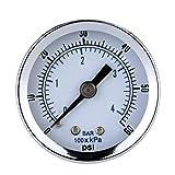 BESTOMZ Manometro di vuoto per il gas dell'olio del compressore d'aria 0-60PSI
