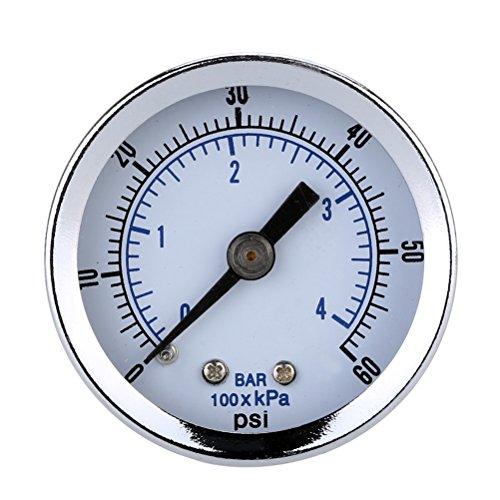 BESTOMZ Vakuum Manometer mit Anschluß für Luft-Kompressor Wasser Öl Gas 0-60PSI -