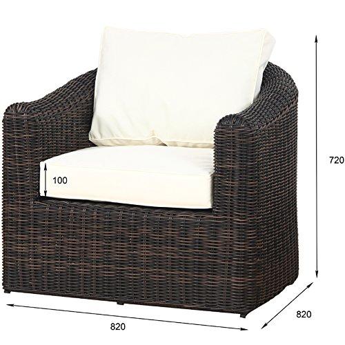 POLY RATTAN Lounge Gartenset BRAUN Sofa Garnitur Polyrattan Gartenmöbel Neu - 4