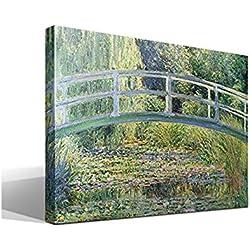 Canvas lienzo bastidor El Puente Japones o Puente de los Nenúfares de Oscar-Claude Monet - Ancho: 95cm - Alto: 70cm - Bastidor: 3cm - Imagen alta resolución - Impresión sobre Lienzo de Algodón 100% - Bastidor de madera 3x3cm - reproduccion digital de obras de arte - Cuadro de calidad superior - Fabricado en España