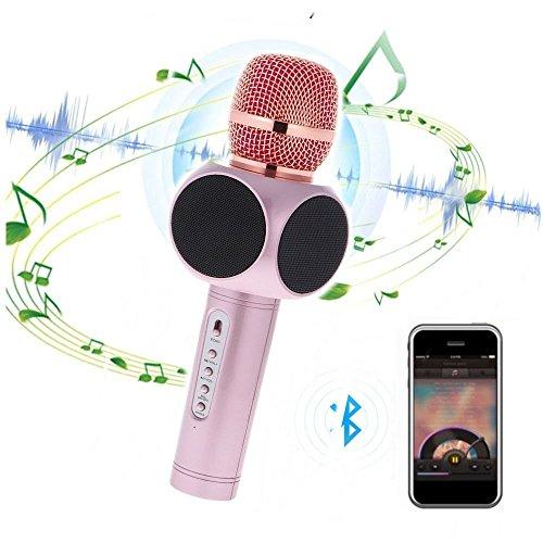 Tragbares Drahtloses Karaoke, TKSTAR 2 in 1 Drahtloses Bluetooth Mikrofon Mini Zuhause KTV 2600mAh Bluetooth Lautsprecher KTV Versammlung Familien-Spielraum, der Auto-Stereoinstrument Aufnahme für iPhone / Samsung / HTC / iPod / Smartch Uhr / Mac / PC Gold E103 (Rosa) (Uhren Ipod)