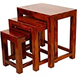 MODWAY Sheesham Wood Nesting Tables Set of 3 Stools | Brown Finsih
