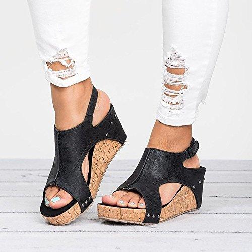 Breathable Strand Sandalen Schnalle Casual Wedges Schuhe Hang mit offenem atmungsaktiv Wort weiblichen Ballerinas(A-Schwarz,36EU) ()