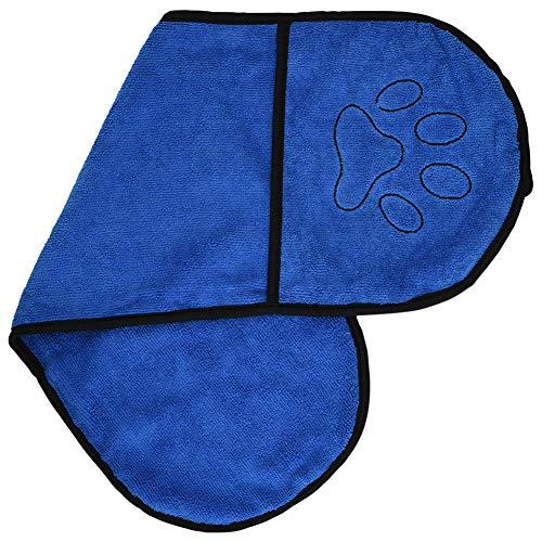 Furpaw Handtuch Hund, Hundebademantel Mikrofaser Schnelltrocknend Extra Saugfähig, Badezubehör für Hunde Labrador Teddy (63,5 * 21cm Bleu)