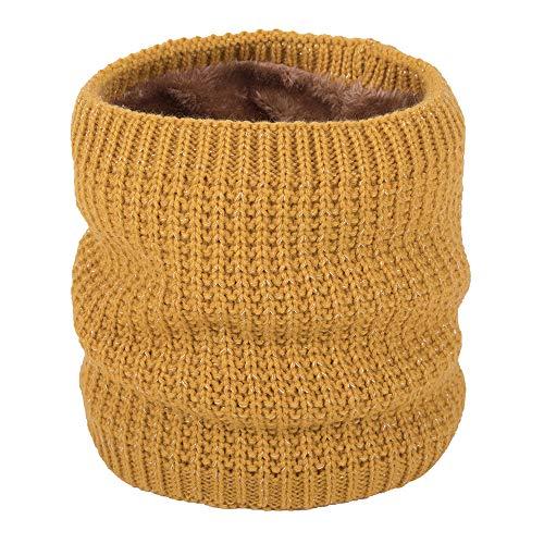 (FORH Unisex Schal Herren Damen Schlauchschal Halstuch Warme Winter Schal Loop Stricken Neck Circle Cowl Mehrzweck Wrap Schal Schal mit Fleecefutter (Gelb))