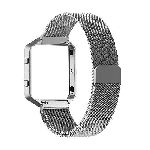 Fitbit Blaze Frame + Armband (6,7-8,1 Zoll), mit Einzigartige Magnet-Verschluss, PUGO TOP® Replacement Wrist Band Uhrenarmband für Fitbit Fitness Uhr Blaze (silber)