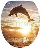 Sticker Autocollant Abattant WC Dauphins Couché de Soleil 35x42cm SAWC0072