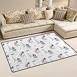 COOSUN Teppich, Paris, französische Bulldogge, Motiv, rutschfest, für Wohnzimmer/Schlafzimmer, 50cm, Textil, multi, 31 x 20 inch