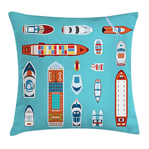 ZMYGH Naval Throw Pillow Cushion Cover, A Collection of Ships Colorful Minimalist Cruise Liner Design Jet Ski Fishing Boat, Decorative Square Accent Pillow Case, 18 X 18 Inches, Multicolor