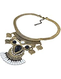 Moxeay Fashion Jewelry Feather Choker Chunky Statement Bib Collar Necklace Chain (gold) by Moxeay