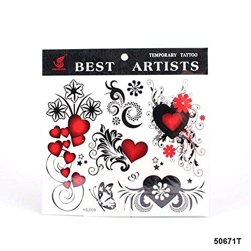 **Großes Tattoo Herzen mit floralen Verzierungen, Sternen und Schmetterling (Herz & Schmetterling Tattoos)
