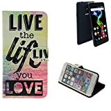 K-S-Trade Für Archos 55b Platinum 360° Wallet Case Schutz Hülle ''live The Life You Love'' Schutzhülle Handy Hülle Handyhülle Handy Tasche Etui Smartphone Flip Cover Flipstyle für Archos 55b Platinum