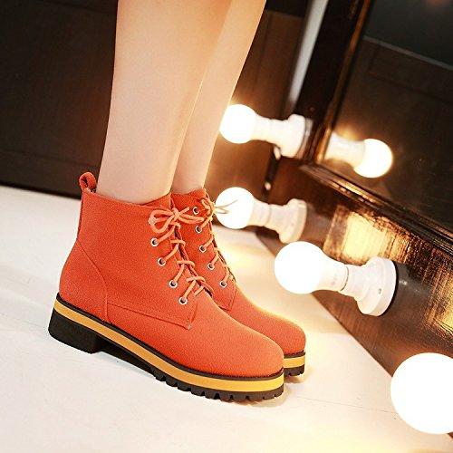 &ZHOU Bottes d'automne et d'hiver Bottes courtes pour femmes adultes Martin bottes bottes Chevalier A4-5 Orange