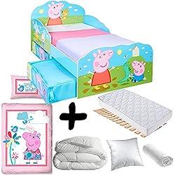 BEBEGAVROCHE Pack Completo Premium Cama Peppa Pig Familia con cajones = Cama + colchón &–Juego + edredón + Almohada