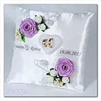 PN57 - Cojín para anillos de boda, con soporte, personalizado, tela, morado