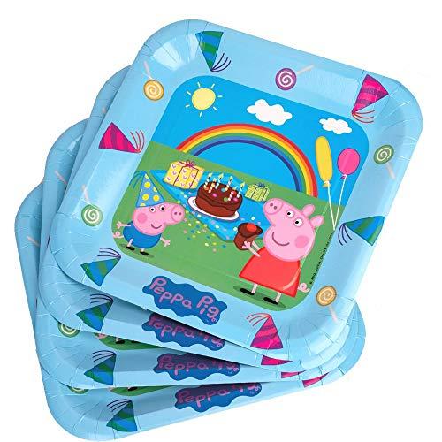 Peppa Pig Party-Teller | 23 cm | 6 Stück | Peppa Wutz Kinder Geburtstag (Thema Peppa Pig Geburtstag)