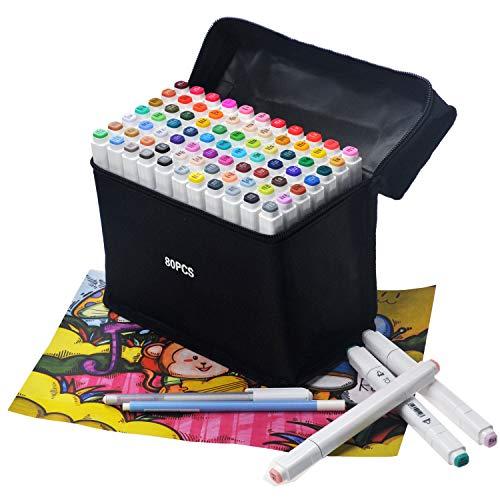 80 Colores Conjunto Manga de Marcadores Graffiti Marcador Dibujo Materiales de Arte (Pluma de regalo + Bolsa de almacenamiento + Tarjeta de 80 colores)
