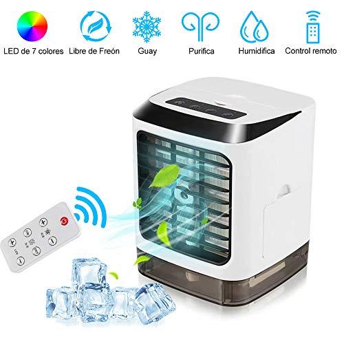 Mobile Klimaanlage mit Fernbedienung, 1 Stück 7 Farben LED-Nachtlicht Tragbare Klimaanlage, USB Desktop Air Conditioner Lüfter, Luftreiniger und Luftbefeuchter für Zuhause, Büro und Outdoor-Reisen