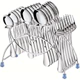 Tiara - Cutlery Set Lavish 24 Pc Stainless Steel Cutlery (6 Pcs Dessert Spoon, 6 Pcs Baby Spoon, 6 Pcs Baby Fork, 6 Pcs Tea Spoon & Stand)