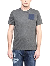 Aventura Outfitters Men's Round Neck T-Shirt With Contrast Pocket (Charcoal Melange)
