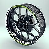 Felgenaufkleber Set Kawasaki Z650 für Motorrad | 17 Zoll | Felgenrandaufkleber & Felgenbettaufkleber | Vorder- & Hinterreifen Komplett-Set (Einfach - glänzend)