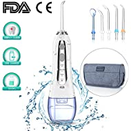 Cordless Water Flosser for Teeth,Professional Dental Oral Irrigator with 5 Jet Nozzles 300ml Reservoir,IPX7 Waterproof USB Rechargeable 360°Rotation 3 Water Pressure and FDA Approved
