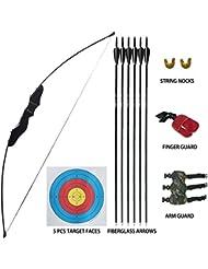 D&Q Tiro con L'Arco Arco ricurvo e Set di frecce per Adulti Giovani Principianti All'aperto A Caccia sparare Formazione Pratica Giocattolo 35 lbs Arco Diviso Kit con frecce Obiettivo Destra