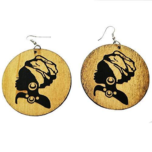 Damen Ohrringe,6 Cm Braunes Holz Runden Schwarzen Afrika Beauty Queen Mädchen Chic Tribal Silber Ohrringe Vintage Holz- Party Zubehör Club Afrikanischen Schmuck Für Damen Mode Personalisierte Ohrsc