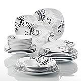 VEWEET 'Zoey' vajilla de Porcelana 24 Piezas Juegos de vajilla | 6 Cuencos de Cereales, 6 Platos de postres, 6 Platos Plano y 6 Platos de Sopa vajilla para 6 Personas