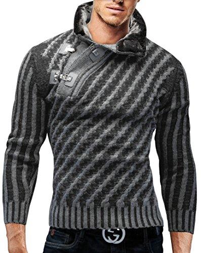 Merish Maglione lavorato a maglia uomo, con collo a scialle,con fibbia decorativa Slim Fit, collo a scialle con utilizzo della pelliccia, vari colori, Sweatshirt 8030 Grigio M