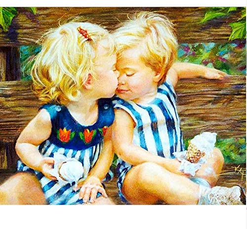 Lamlzzoo Acrylbild Küssen Baby DIY Malen nach Zahlen Kit Farbton nach Zahlen Modernes Wand-Kunst-Bild