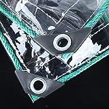 Lonas Lona Transparente PVC Impermeable Impermeable Impermeabilizante Lona Resistencia al desgarro Cubiertas de la lámina de protección Solar Lonas Transparentes Resistentes con Ojales, 500 g/m²