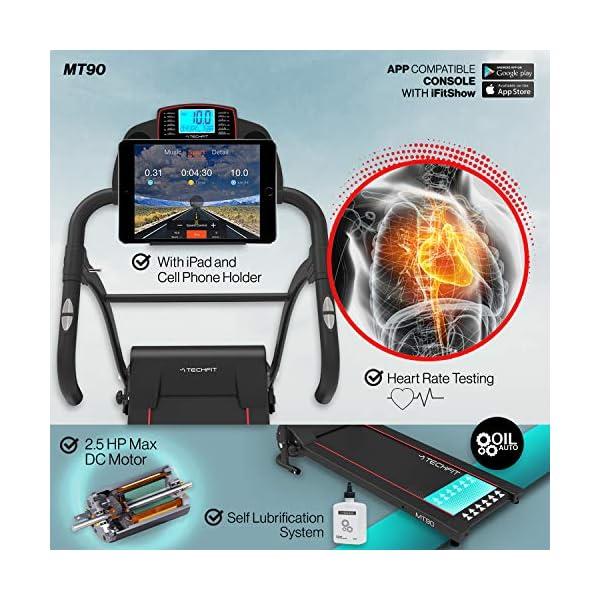 TechFit MT90 Tapis Roulant Elettrico Motorizzato Pieghevole, 2.5 HP, Superficie di Corsa 1000x 360mm, Filtro EMC… 2 spesavip