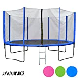 Jawinio Trampolin 366 cm (12F) Gartentrampolin Jumper Komplett-Set inkl. Leiter, Sicherheitsnetz und Sprungmatte Grün, Pink Oder Blau