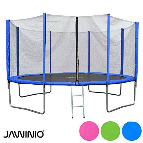Jawinio Trampolin 366 cm (12F) Gartentrampolin Jumper Komplett-Set inkl. Leiter, Sicherheitsnetz und Sprungmatte Grün, Pink oder Blau (Blau)