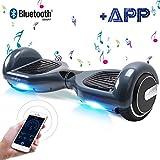 BEBK Hoverboard, 6.5 Zoll Self Balance Scooter, Elektro Scooter mit App Funktion & Bluetooth Lautsprecher, 2 * 350W Starker Dual Motor (Bluegray)