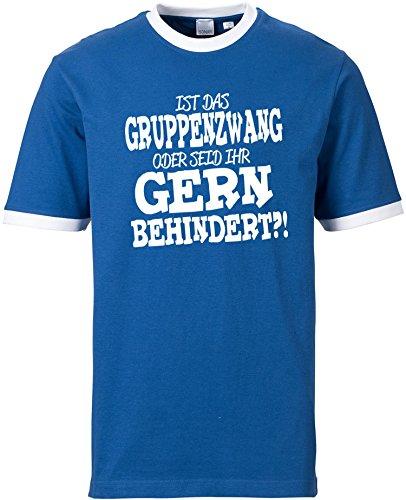 EZYshirt® Ist das Gruppenzwang oder seid ihr gern behindert Herren Rundhals Ringer T-Shirt Blau/Weiss/Weiss