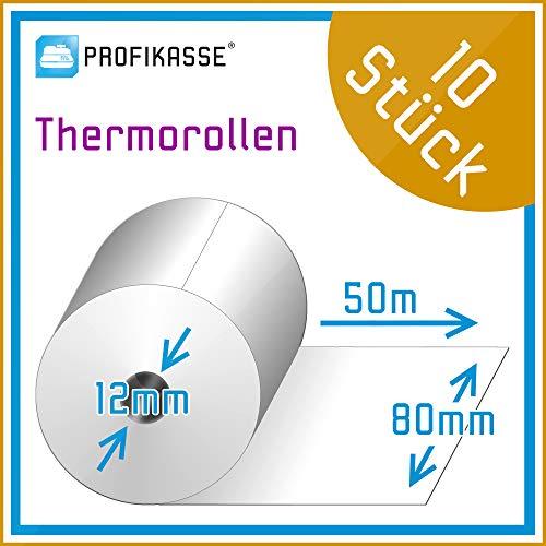 Tsp100 Thermo (10 Stück Bonrollen Thermo 80mm x 50m x 12mm, passend für Epson, Bixolon, Metapace, SNBC, Orderman, Sewoo, Star, Citizen - Thermorollen vom Kassen-Fachhandel)