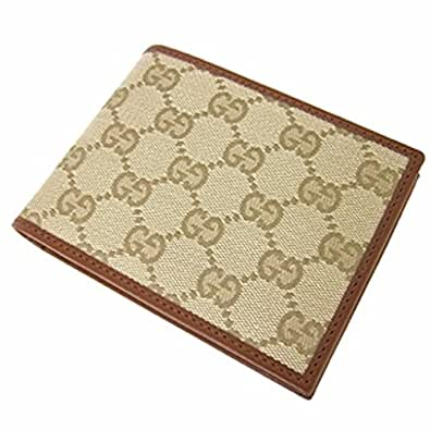 Authentic Gucci Men's GG Monogram Canvas/Leather Wallet - Beige