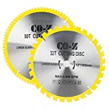 CO-Z 2er Kreissägeblatt Kreissägeblätter Sägeblatt Hartmetallsägeblatt 305x25x3 mm mit 32 und 80 Zähnen Saw Blade für Holz Kunststoff Aluminium Kupfer Metall