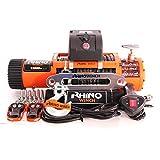 Rhino 12v Verricello Elettrico con Telecomando Dyneema/Corda Sintetico 13500lb / 6125kg