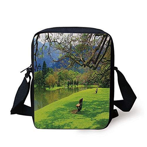 ZKHTO Nature,Panoramic View of Public Lake Garden at Asian Park Idyllic Landscape,Lime Green Violet Blue Print Kids Crossbody Messenger Bag Purse - Public View Monitor