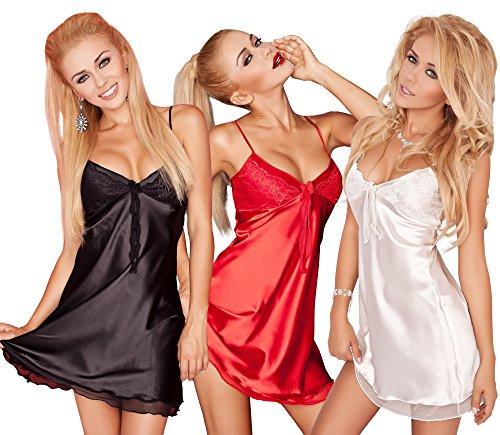 r-dessous sinnliche Damen Nachtwäsche Satin + Spitze Nachthemd Babydoll Nachtkleid große Größen Frauen Wäsche Schwarz