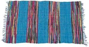 Ian Snow Tapis de style mexicain Turquoise