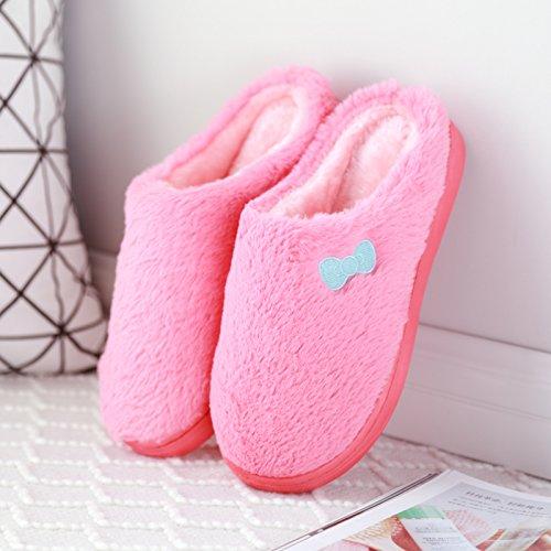 DogHaccd pantofole,Pantofole di peluche inverno bella maschio e femmina paio di pantofole di cotone indoor scarpe invernali soggiorno di spessore Il rosso4