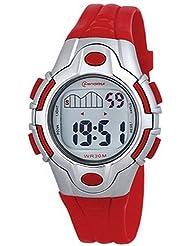 Montre digital Femme / Enfant - bracelet Plastique Rouge - Cadran Rond Fond Gris et Rouge - Marque Mingrui - MR8502