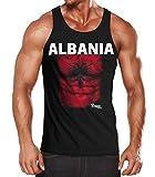 MoonWorks EM Tanktop Herren Fußball Albanien Albania Flagge Fanshirt Waschbrettbauch Muskelshirt Schwarz XXL