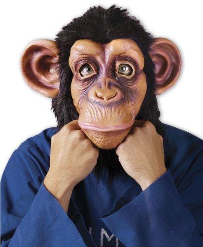 Comical Chimp Maske Schimpanse mit Plüschfell aus Kunststoff für (Schimpanse Maske Kostüm)