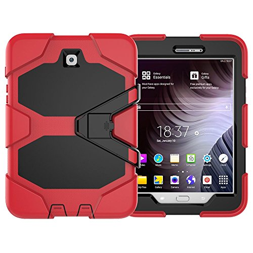 amsung Galaxy S2 8.0, Hybrid Armor Design TPU Silikon & Hart Polycarbonat Bumper Backcover Case Schutzhülle für Galaxy Tab S2 8.0 Zoll Tablet hülle mit Kickstand (Rot) ()