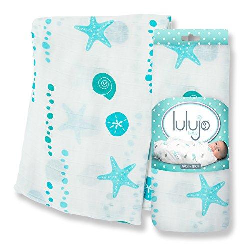 Lulujo - Fascia per bebè in mussola di bambù, motivo: mare